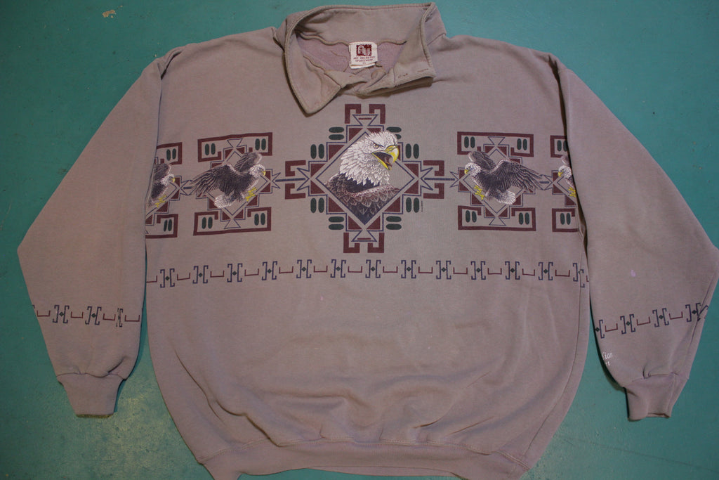 Flat Head Indian Reservation Eagle Southwest Graphic 90's Collared Sweatshirt