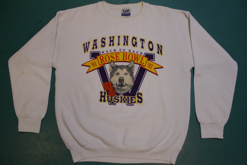 Washington Huskies Back to Back Rose Bowl 91-92 Made in USA 90's Sweatshirt