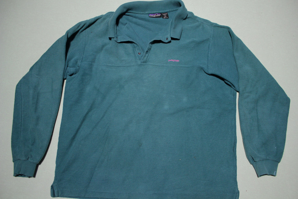 Patagonia Vintage Henley Capilene Long Sleeve Blue Green Polo Shirt