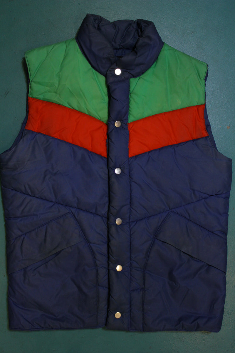 Weather Watcher 80's Vintage Tri-Color Puffer Vest