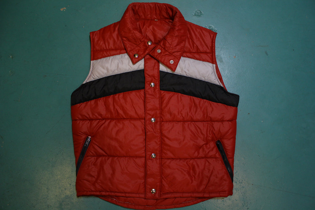 Red Quilted 80's Vintage Puffer Vest Snow Ski