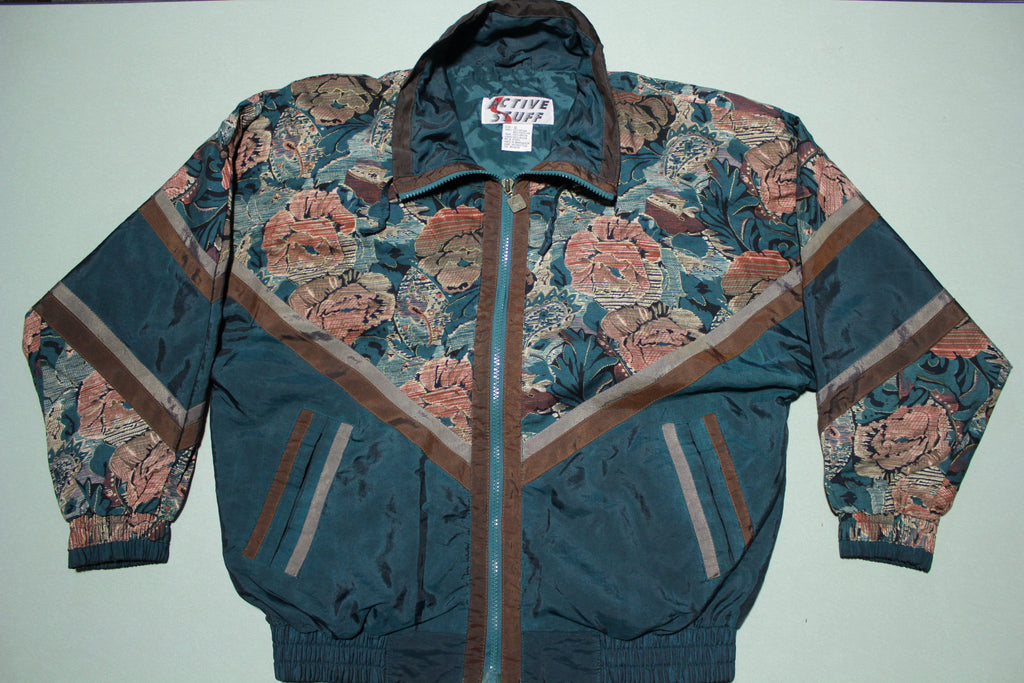 Active Stuff Vintage 90's Grandma Mom Floral Windbreaker Jacket