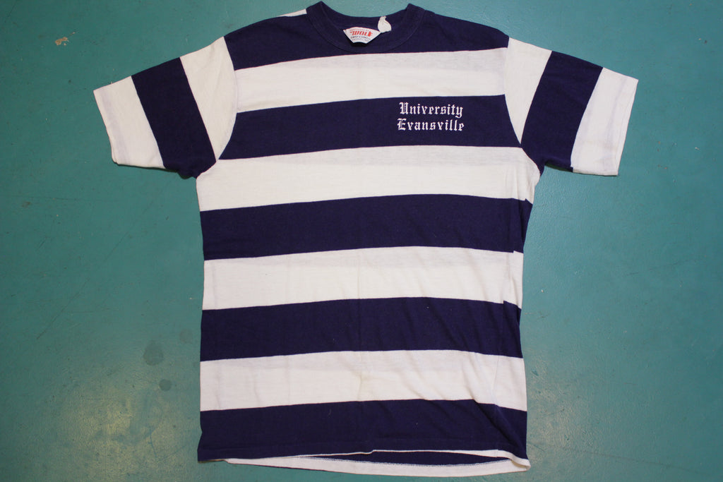 University Evansville Navy and White Striped Vintage 70's T-shirt Banded Collar