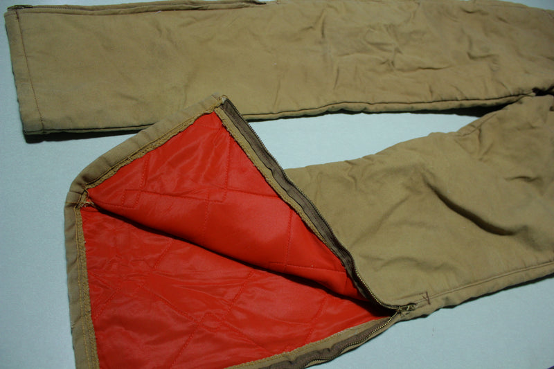Key Insulated Quilt Lined Vintage 70's Talon 42 Zipper Work Utility Pants