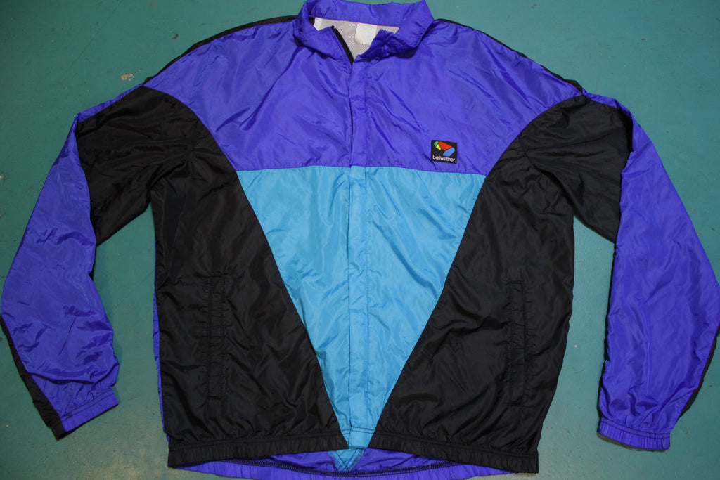 Bellwether 80s 90s Gray Tag Vented Bicycle Windbreaker Jacket Vibrant Colors