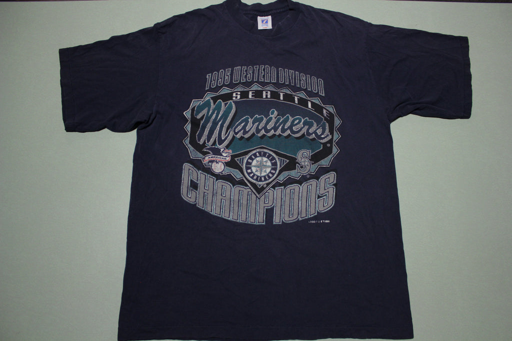 Seattle Mariners 1995 Western Division Champions Vintage Logo 7 90's T-Shirt