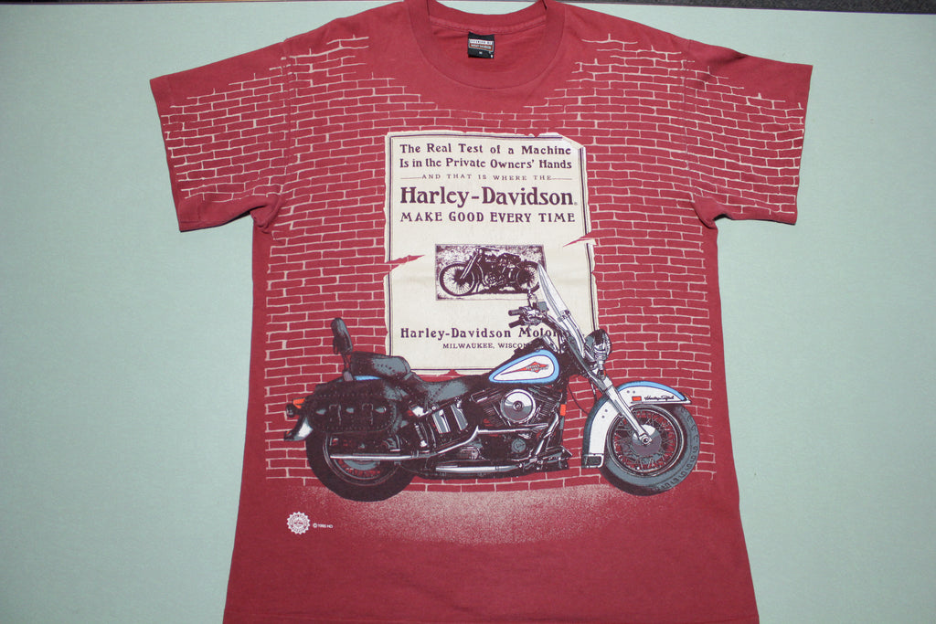 Harley Davidson Brick Wall Vintage 90's Single Stitch USA Made Motorcycle T-Shirt
