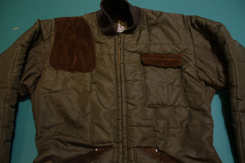 Bob Allen Sportswear Vintage Mens Hunting Shooting Puffer Leather Patch Jacket