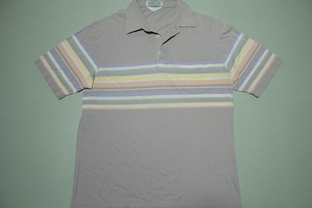 Sansabelt Vintage 80's Striped Golf Polo Shirt