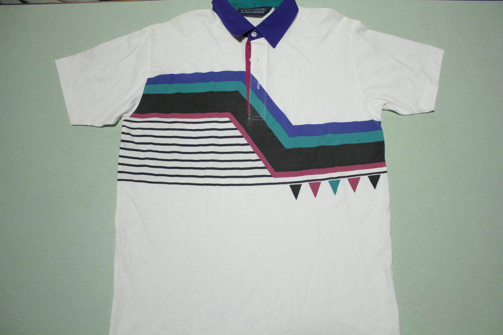 Van Heusen Editions Vintage 90's Striped Golf Polo Tennis Shirt