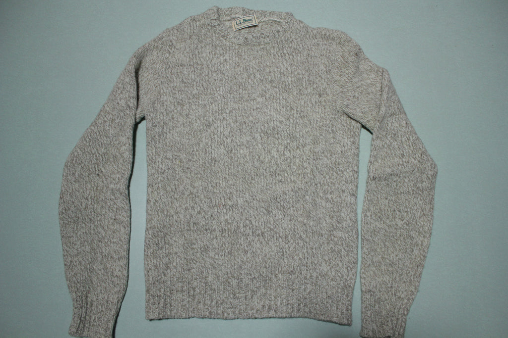 LL Bean Classic Brown Tan Heathered Oatmeal Wool Fireplace Sweater