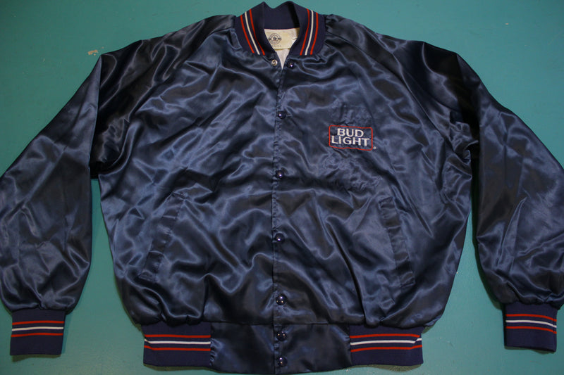 Official Anheiser Busch Product Bud Light Satin Made in USA Vintage 80's Bomber Jacket