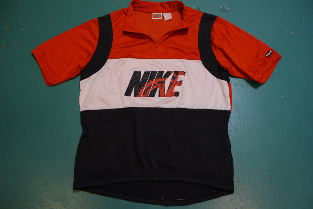 Nike 80's Gray Tag Vintage Quarter Zip Bicycle Jersey Small Bike Shirt