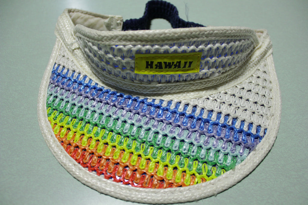 Hawaii Rainbow Vintage White 80's Elastic Back Sun Visor Hat