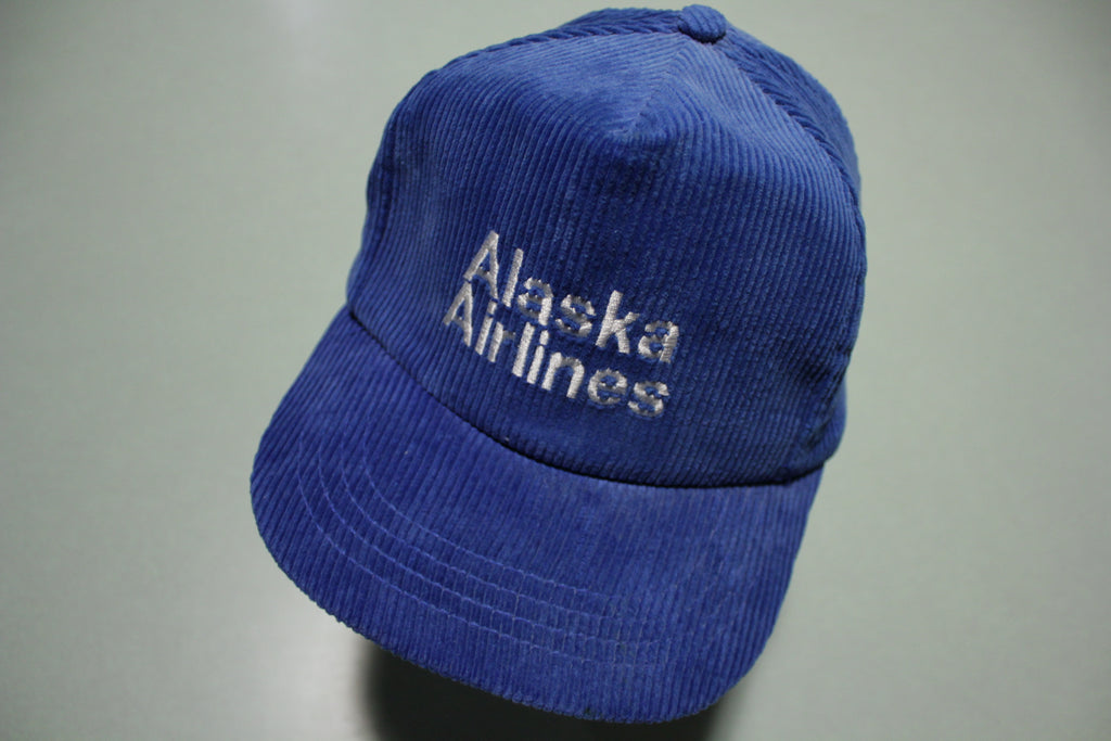 Alaska Airlines Vintage Blue Corduroy 80's Adjustable Back Company Hat