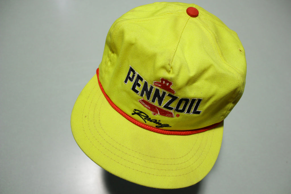 Penzoil Racing Vintage Yellow Red Cord 90's Adjustable Back Company Hat