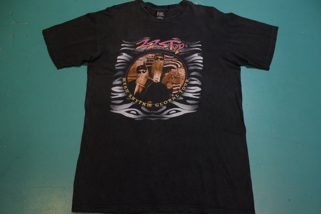 ZZ Top's 1997 Mean Rhythm Global Tour 90's T-shirt Included Cities and Dates