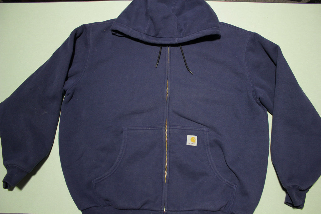 Carhartt J149 NVY Blue Thermal Lined Hoodie Sweatshirt Zip Heavy Duty Jacket