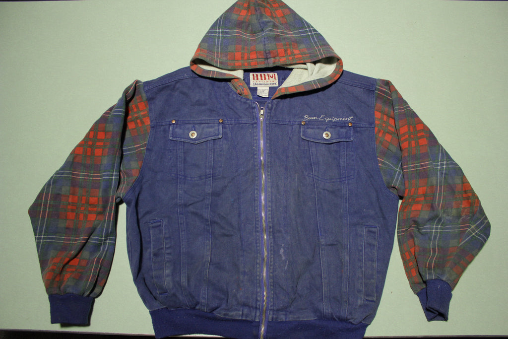 BUM Equipment Vintage 90's Flannel Hoodie 1993 Jean Jacket