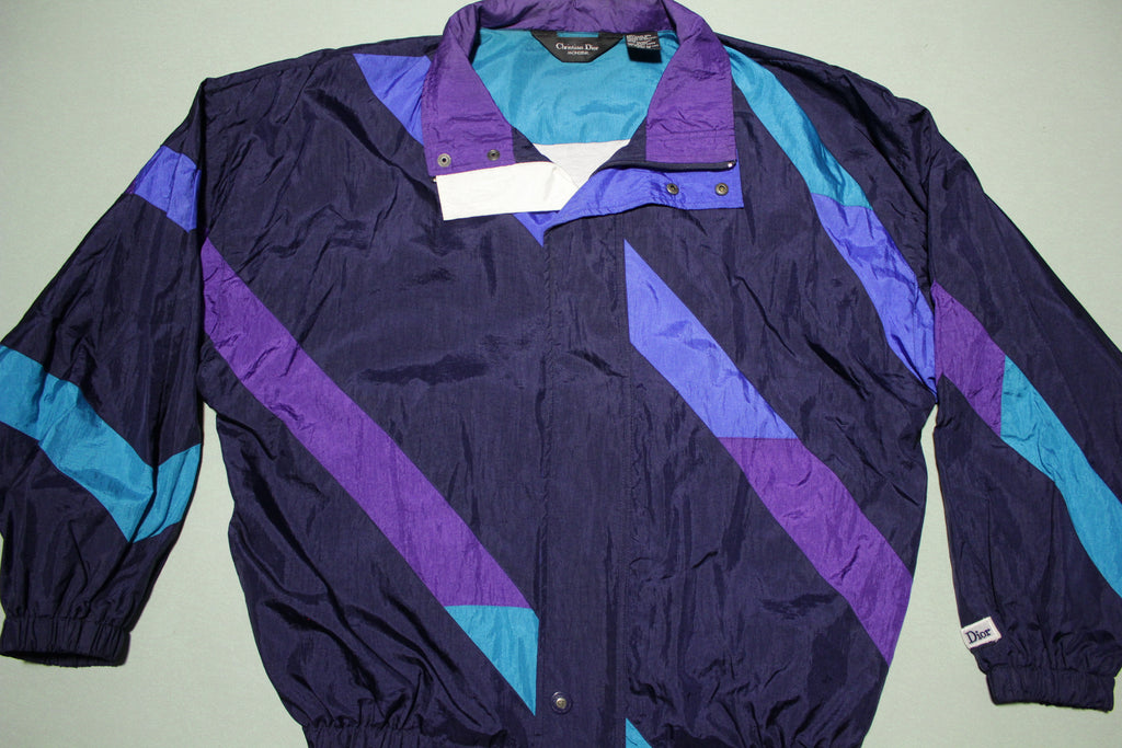 Christian Dior Vintage 90's Color Block Designer Windbreaker Jacket