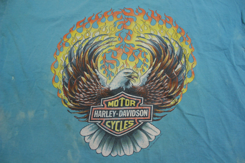 Harley Davidson Motorcycles 1990 Vintage Tye Dye Single Stitch T-shirt