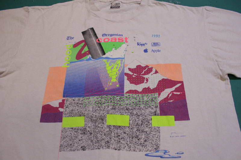 Apple Computer Bud Light Oregonian Coast 1991 Vintage Single Stitch Relay T-Shirt