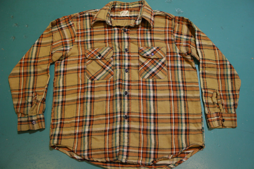 5 Brother Vintage 60's Orange Brown Green Flannel Plaid Shirt Long Sleeve Shirt