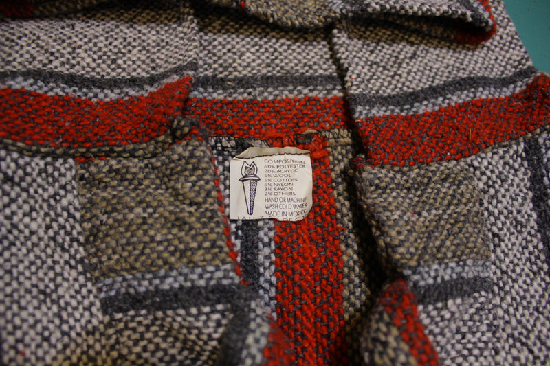 La Luz S.A DE C.V Made in Mexico Drug Rug Poncho Hoodie Baja Sweater Vintage