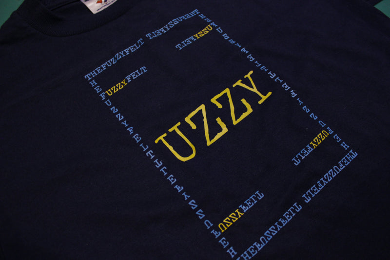 """UZZY"" Fuzzy Felt Custom Hand Printed Logo On Authentic Vintage T-Shirt"