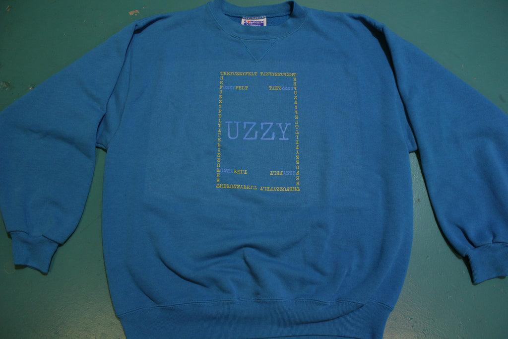 """UZZY"" Fuzzy Felt Custom Hand Printed Logo On Authentic Vintage Sweatshirt"