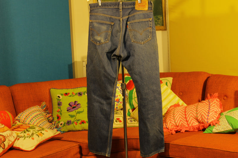 90s Levis 501 Button Fly Jeans. Vintage, Made in USA 501xx 34x27