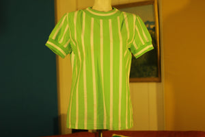 Vintage Green and White Striped Aileen Banded Shirt. Retro 1970's 1980's