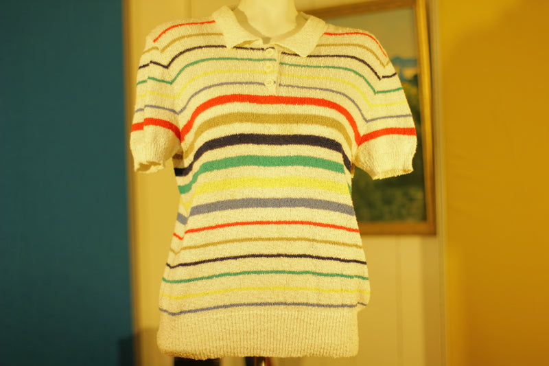 Cool, Easy, Breezy Jantzen Striped Polo. Colorful Vintage 1980's 1970's