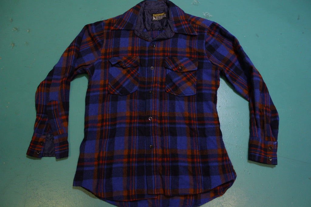 Passport Vintage 60's Blue Red Flannel Plaid Shirt Wool Long Sleeve Button Up