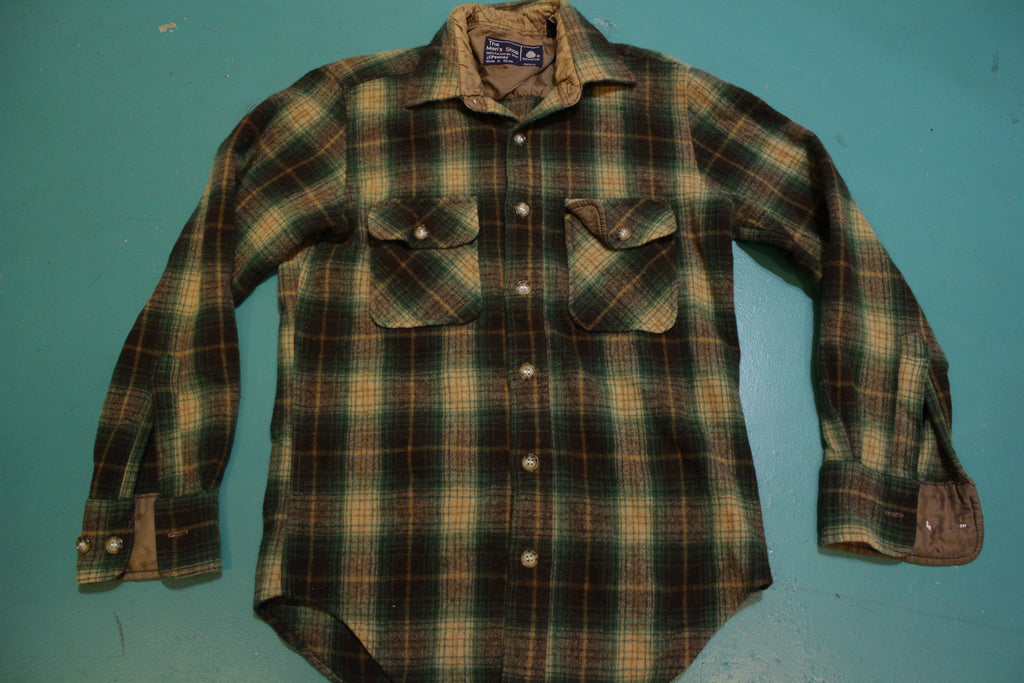 JCPenney Vintage 60's Blue Red Flannel Plaid Shirt Wool Long Sleeve Button Up