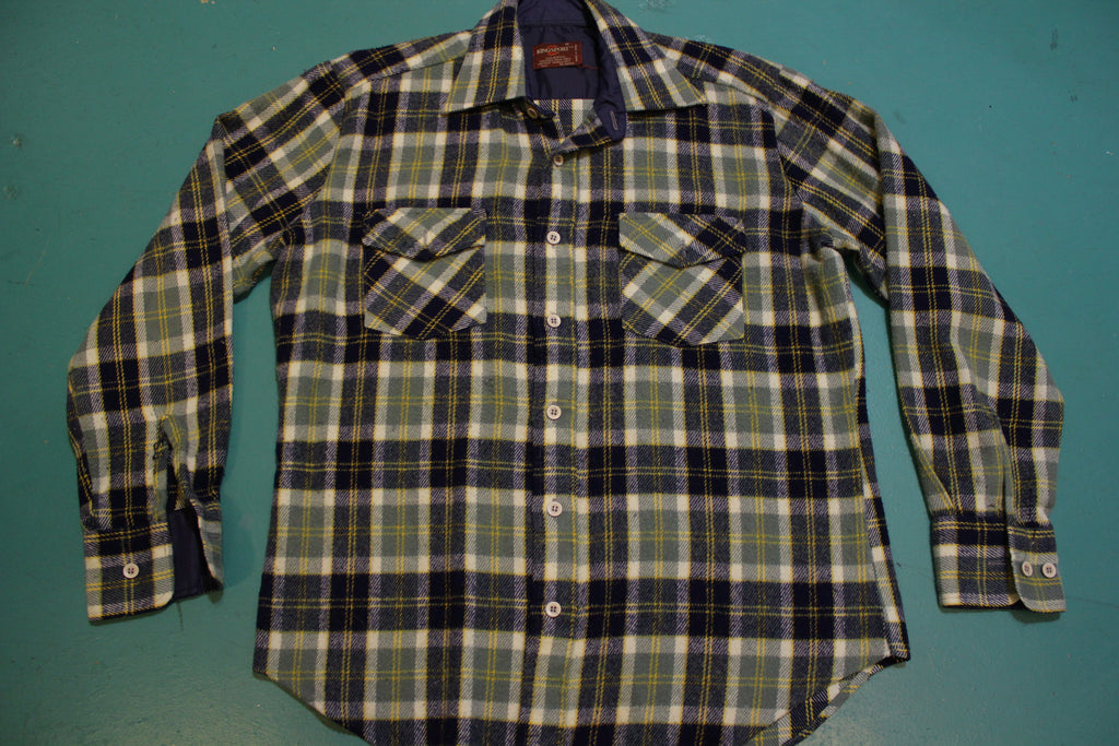 Kingsport Vintage 60's Blue Green Flannel Plaid Shirt Wool Long Sleeve Button Up