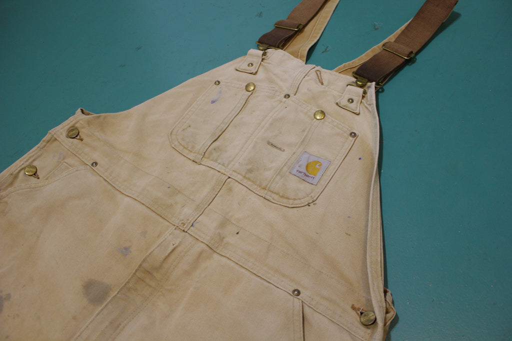 Carhartt R01 BRN Double Knee Front Duck Wash Bib Overalls USA Made 40x29