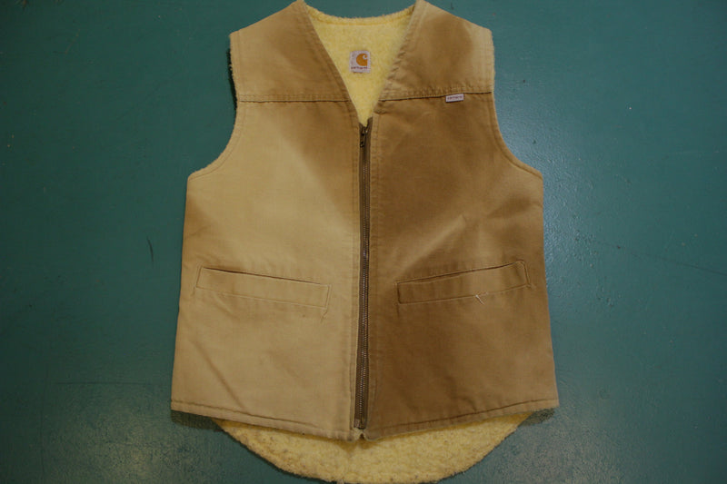 Carhartt 6SV Duck Sherpa Lined Rancher Work Vest Made USA Vintage Mens Small