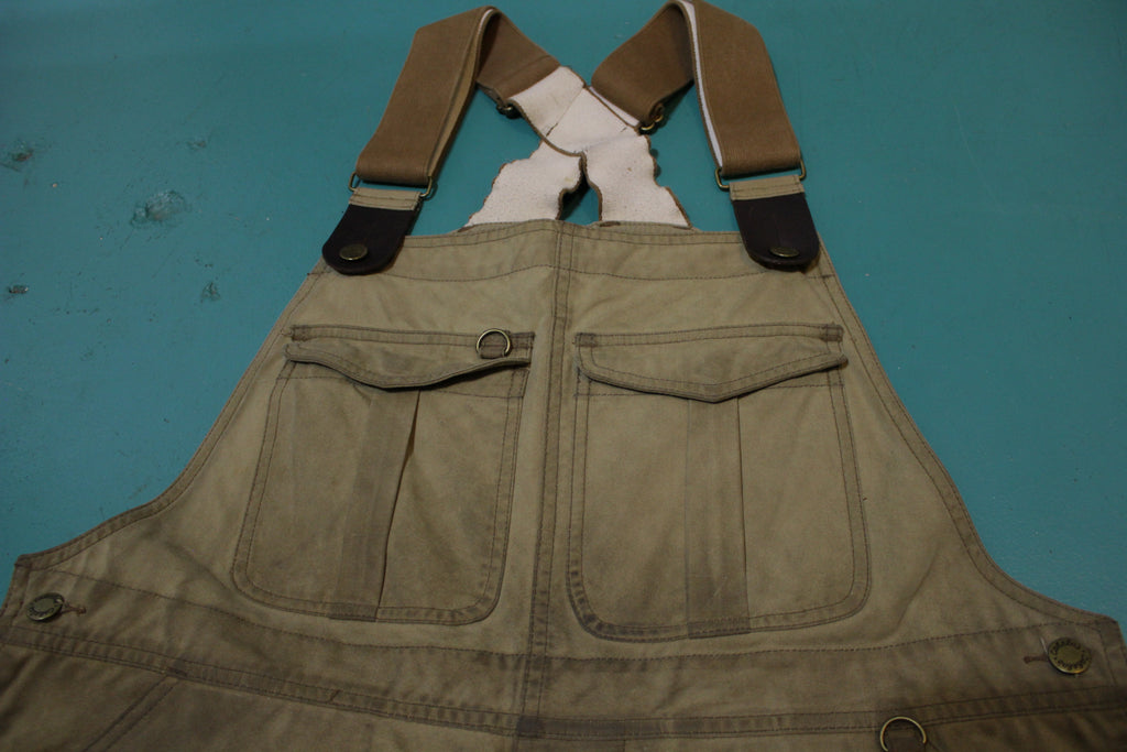 Cabelas Waxed Cotton Stonewall Upland Bibs 11oz Double Front Heavy Duty Overalls