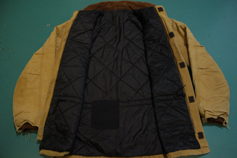 VTG Carhartt Duck Arctic Quilt Lined Traditional Coat C03 BRN Large Barn Chore