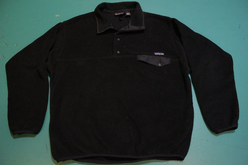 Patagonia Large Men's Black on Black Synchilla Snap T Pullover Fleece 25450 Polyester