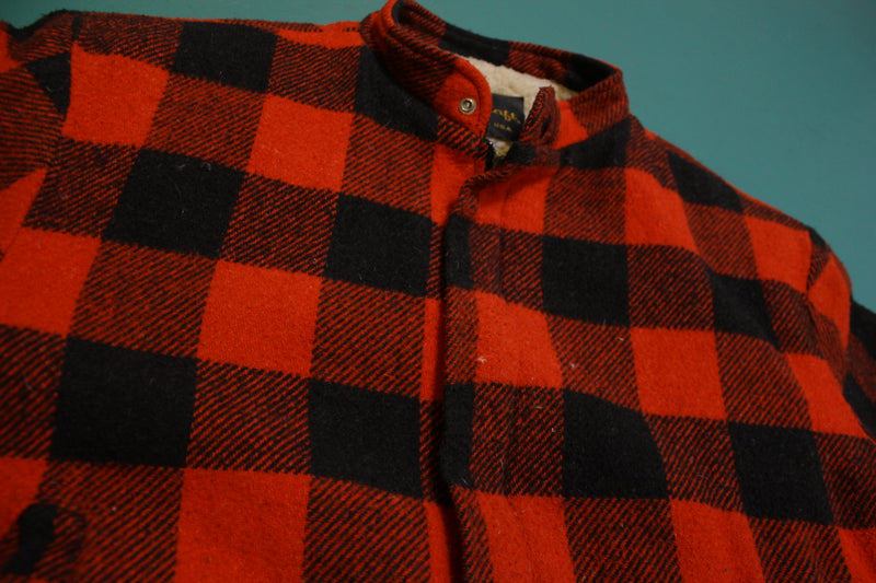 Cal Craft Black Red Buffalo Plaid Hunting Jacket Wool Zip Sherpa Lined USA