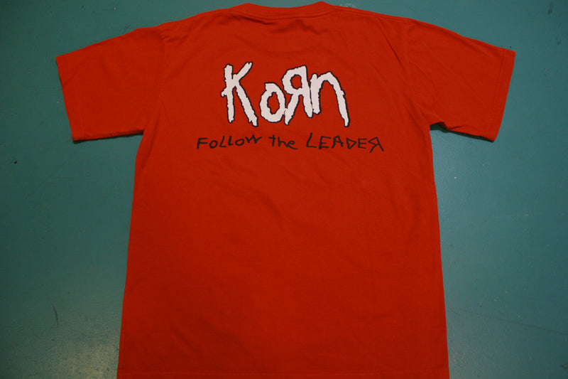Korn 1998 Vintage 90's Follow The Leader Red Metal Skull T-Shirt