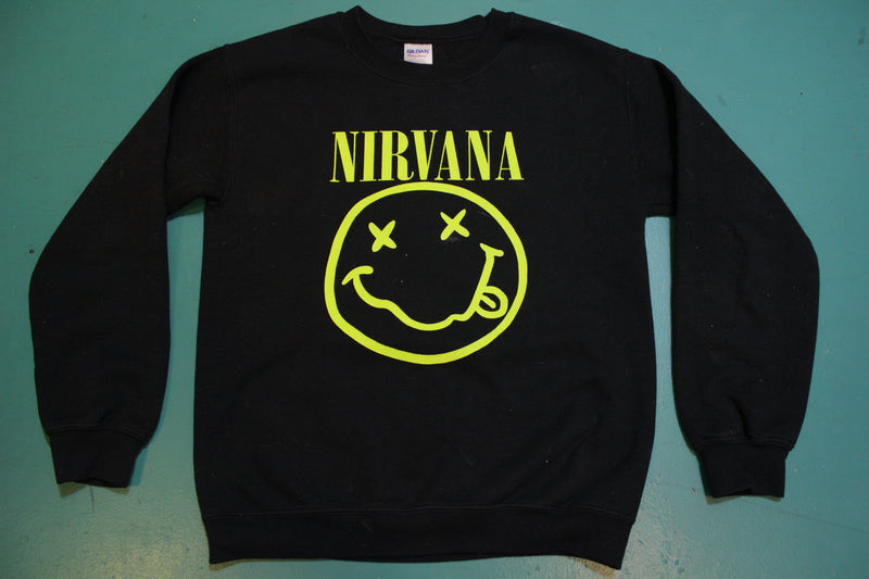 Nirvana Kurt Cobain Drawn Smiley Face Vintage Grunge Sweatshirt.