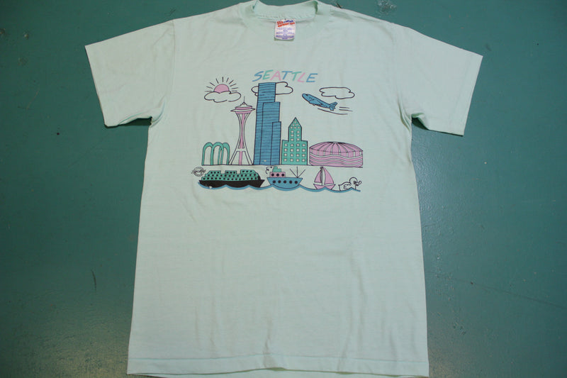Seattle Kingdome Downtown Space Needle Vintage Single Stitch 80's T-Shirt.