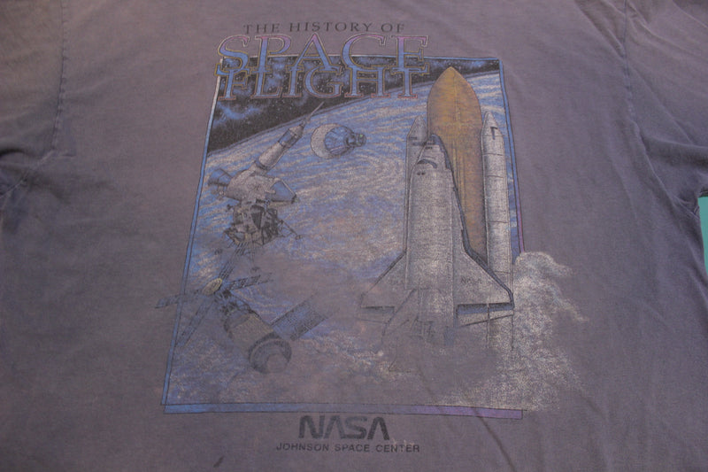 Nasa Johnson Space Center History of Space Flight Single Stitch Vintage 80's T-Shirt