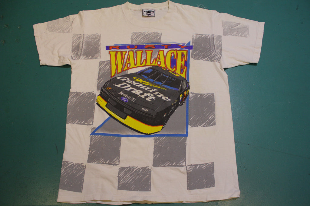 Rusty Wallace Vintage All Over Print Miller Genuine Draft 90's Checkered Flag T-Shirt