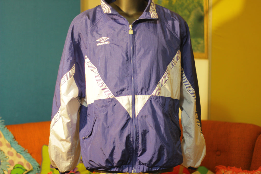 1990's Vintage Umbro Blue Windbreaker Jacket Like New XL