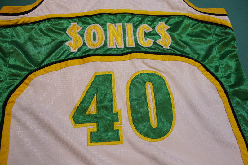 Seattle Super Sonics Custom Dollar Sign Shawn Kemp 40 Jersey