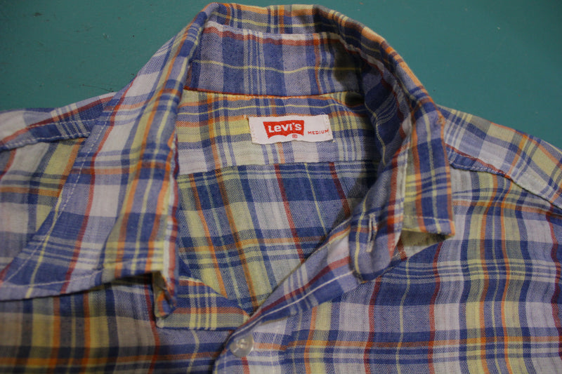 Levis 70's Red Tag Plaid Squared Pocket Vintage Long Sleeve Button Up Shirt
